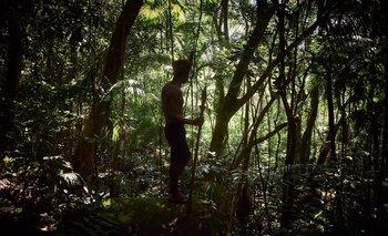 Todas las mañanas los más jóvenes, guiados por uno de los líderes se internan en la selva para verificar las trampas. Maquiné, Rio Grande do Sul, Brasil.