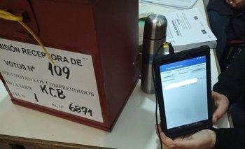Tablets electrónicas en mesa del Circuito 109 de Paysandú.