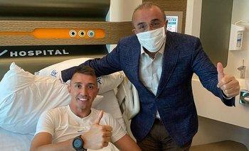 Fernando Muslera en la clínica junto al vicepresidente de Galatasaray