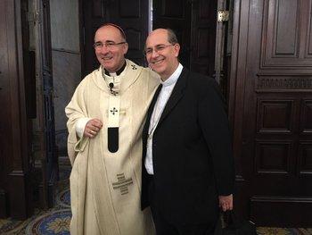 El cardenal y arzobispo de Montevideo, Daniel Sturla, y el obispo de Maldonado y Minas, Milton Tróccoli