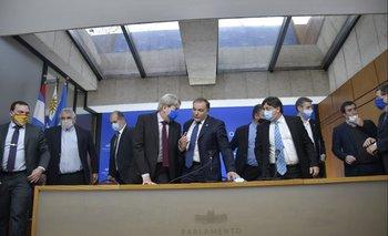 Archivo. Conferencia de los diputados de la coalición para anunciar acuerdos en las negociaciones por la LUC