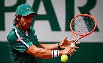Cuevas en el juego ante Djokovic
