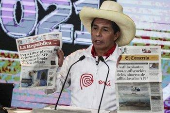 El candidato presidencial Pedro Castillo