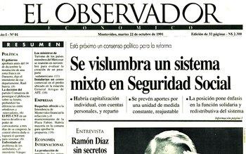 La primera edición de El Observador se publicó el martes 22 de octubre de 1991