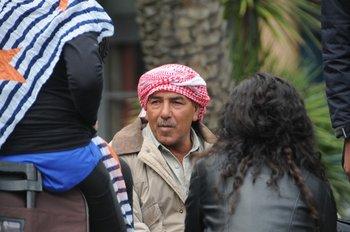 Sirios que llegaron a Uruguay como refugiados protestan en la Plaza Independencia frente a Torre Ejecutiva, en 2014.