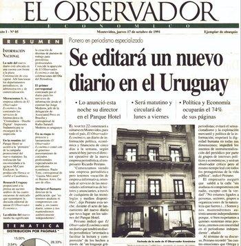 Anuncio del nuevo diario en Uruguay