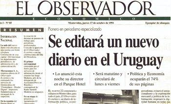 Primera tapa de El Observador en el que se anuncia el nuevo diario