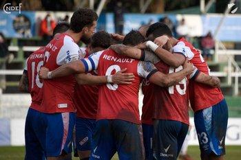 El festejo de los jugadores de Nacional