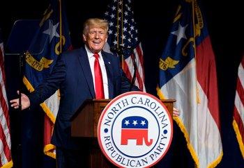 Dondald Trump en su discurso en Carolina del Norte