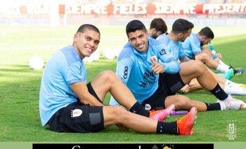 Brian Ocampo y Luis Suárez, sonrientes en la práctica