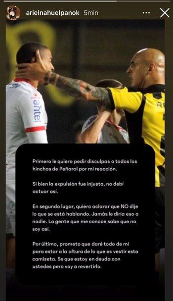 Ariel Nahuelpán pidió disculpas a los hinchas de Peñarol y negó los dichos que Martín González sostuvo que le dijo en pleno partido ante Rentistas