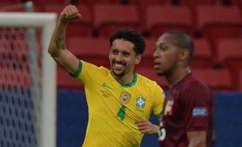 Marquinhos festeja el 1-0