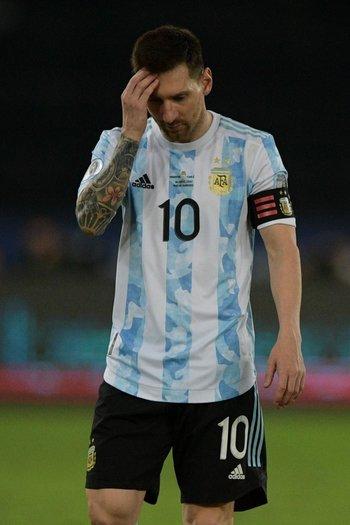 Lionel Messi al finalizar el partido ante Chile