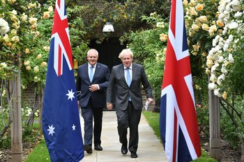 Primer ministro de Australia, Scott Morrison y primer ministro de Reino Unido, Boris Johnson