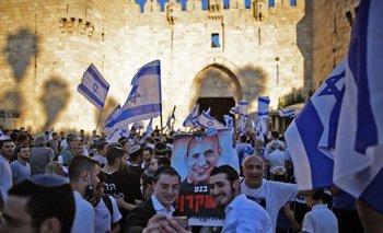 Manifestantes de la extrema derecha contra el primer ministro, Naftali Bennett