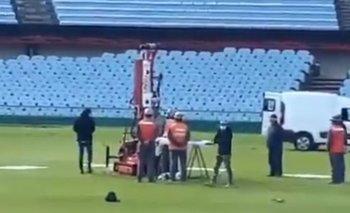 Así comenzaron los trabajos en el césped del Estadio Centenario