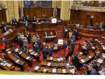 Dos de los medidores instalados en la Cámara de Diputados.