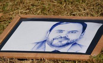 Una pintura del lider catalán Oriol Junqueras que este martes fue indultado por el gobierno español