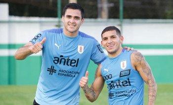 Maxi Gómez y Lucas Torreira, el martes en Cuiabá