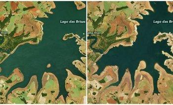 La comparación de estas imágenes de la NASA es una preocupante evidencia de la sequía en Brasil: la imagen izquierda fue tomada el 12 de junio de 2019, la derecha el 17 de junio de este año.