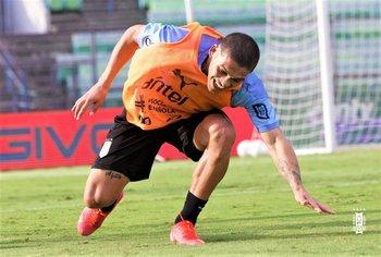 Ocampo durante un entrenamiento de la selección