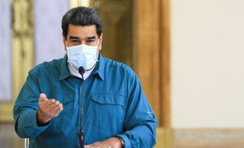 El presidente de Venezuela, Nicolás Maduro, durante un mensaje televisivo desde el Palacio de Miraflores el domingo