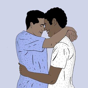 Mohamed fue sorprendido por la hermana de su novio, Ahmed, mientras la pareja se encontraba en una situación romántica