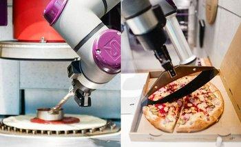 El robot cuenta con un sistema para colocar la salsa y cuchillas para cortar cada uno de los pedazos antes de entregarlos.