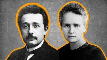 A la izquierda Albert Einstein, a la derecha Marie Curie