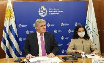 Los ministros Francisco Bustillo y Azucena Arbeleche, durante la reunión virtual del Consejo del Mercado Común