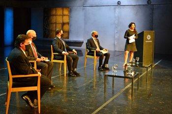 Oradores, de izquierda a derecha: Paganini, Radi, Lacalle Pou y Cohen