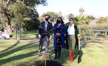 La diplomática británica habló en la residencia presidencial luego de haber plantado uno de 95 árboles junto a Lacalle Pou y Ponce de León