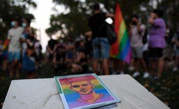 Una foto de Samuel Luiz durante una protesta contra los crímenes homofóbicos