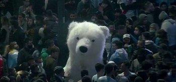 Un oso polar en los festejos del obelisco de Buenos Aires