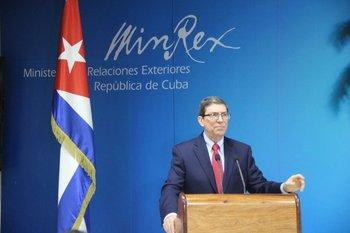 El canciller de Cuba, Bruno Rodríguez, brinda una conferencia de prensa este martes con motivo de multitudinarias protestas