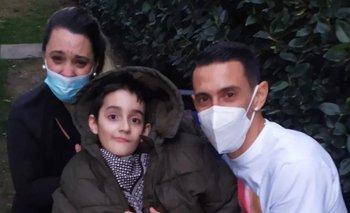 Ángel Di María recibió a Rodrigo y a su mamá en su casa