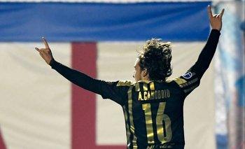 La celebración de Agustín Canobbio en el 1-0 ante Nacional