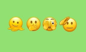 Una cara derretida, otra tapándose la boca, otra cubriéndose un ojo y la última haciendo la venia: los emojis que se