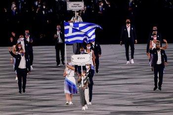 Desfile de los atletas griegos