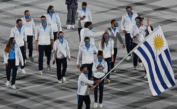 Los uruguayos en el desfile inaugural