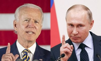 A la izquierda, Joe Biden (presidente de EEUU) y a la derecha Vladimir Putin (presidente de la Federación Rusa)