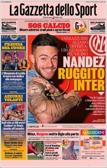 La portada de La Gazzetta dello Sport dedicada íntegramente a Nahitan Nández