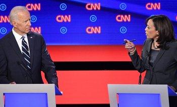 Harris volvió a poner a Biden en el centro de sus cuestionamientos.