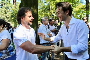 Lacalle Pou y Juan Sartori en enero en el homenaje a Leandro Gómez en Paysandú