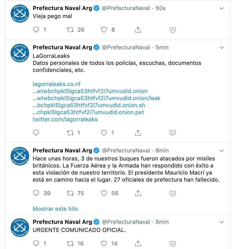 Hackearon la cuenta de Twitter de Prefectura Naval