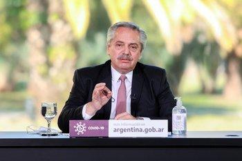 El presidente argentino, Alberto Fernández, durante una conferencia de prensa en Buenos Aires