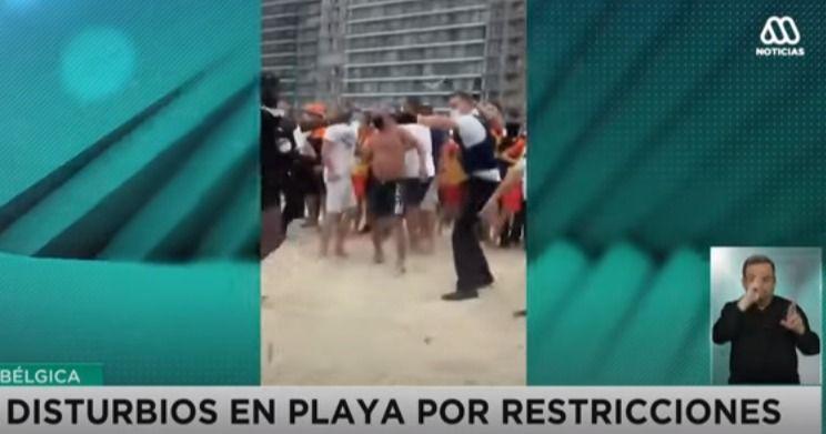Por incumplir con normas sanitarias, se arma zafarrancho en playa de Bélgica
