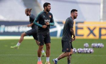 Suárez y Messi en Lisboa