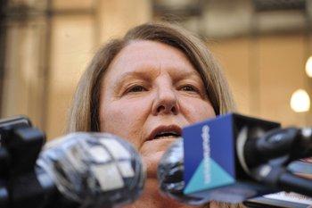 La fiscal del caso, Darviña Viera, a la salida de una de las audiencias