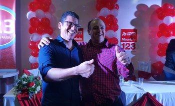 El candidato a intendente de Rivera Mauricio González junto al candidato a alcalde de Tranqueras Maneco Lovatto
